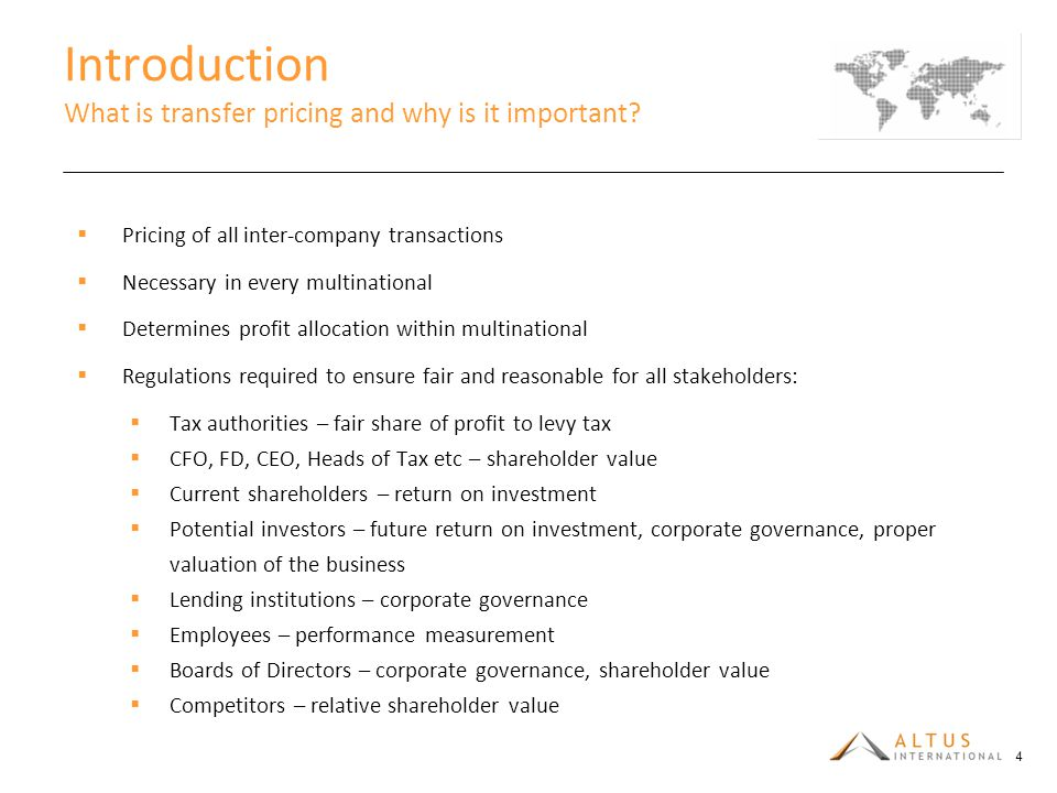 Introduction What is transfer pricing and why is it important