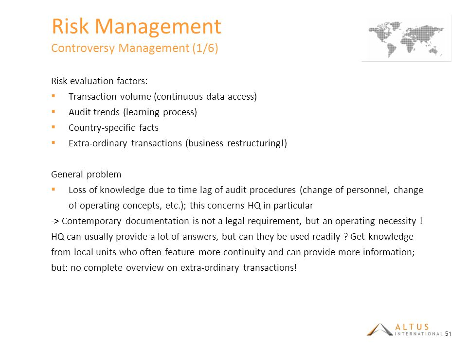 Risk Management Controversy Management (1/6)