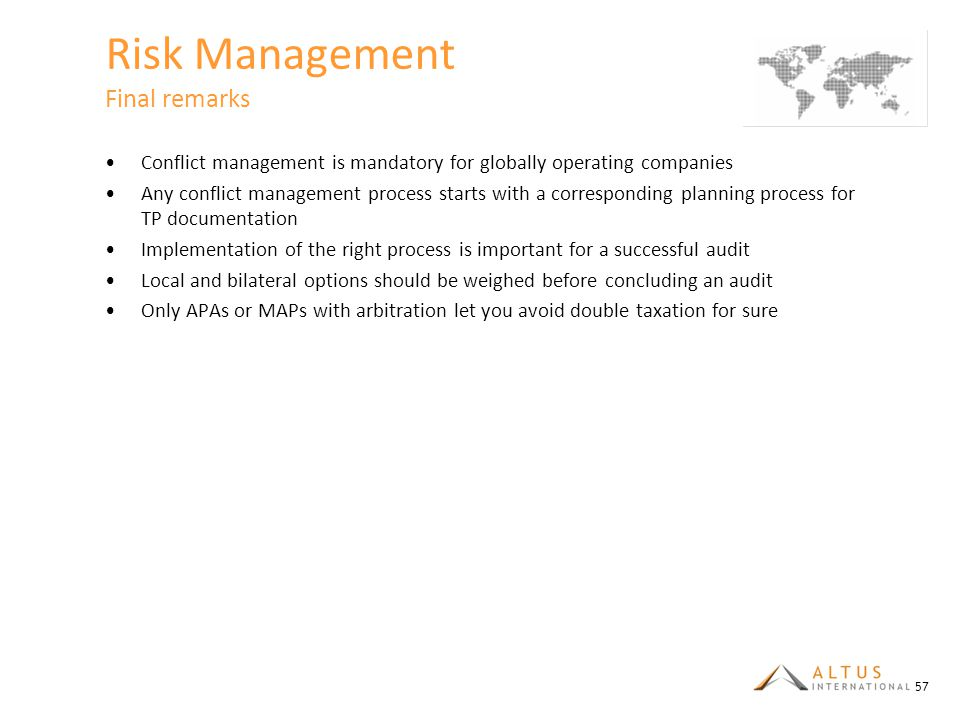 Risk Management Final remarks
