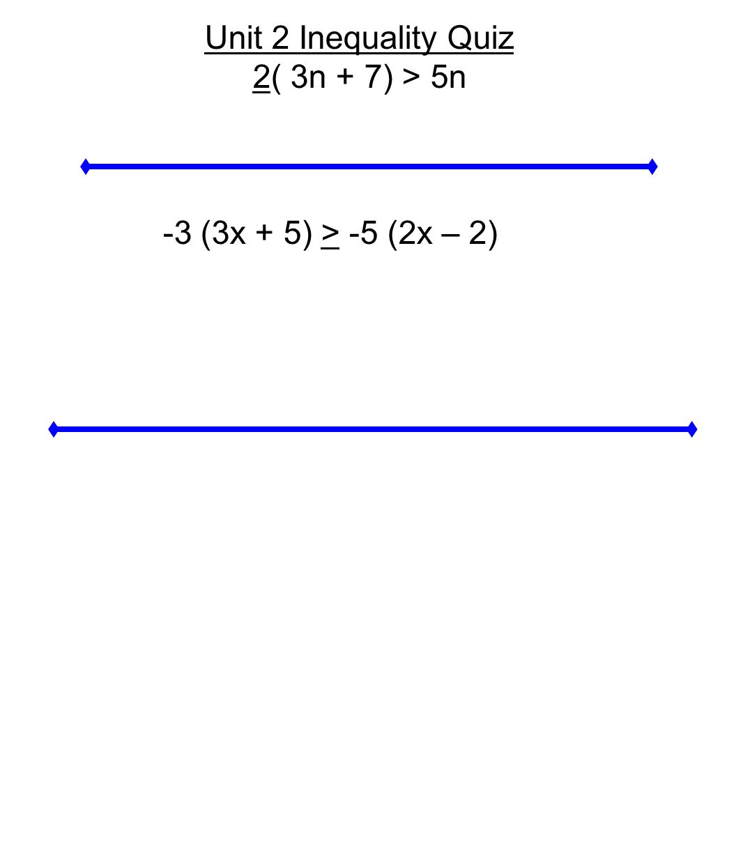 Unit 2 Inequality Quiz 2( 3n + 7) > 5n -3 (3x + 5) > -5 (2x – 2)