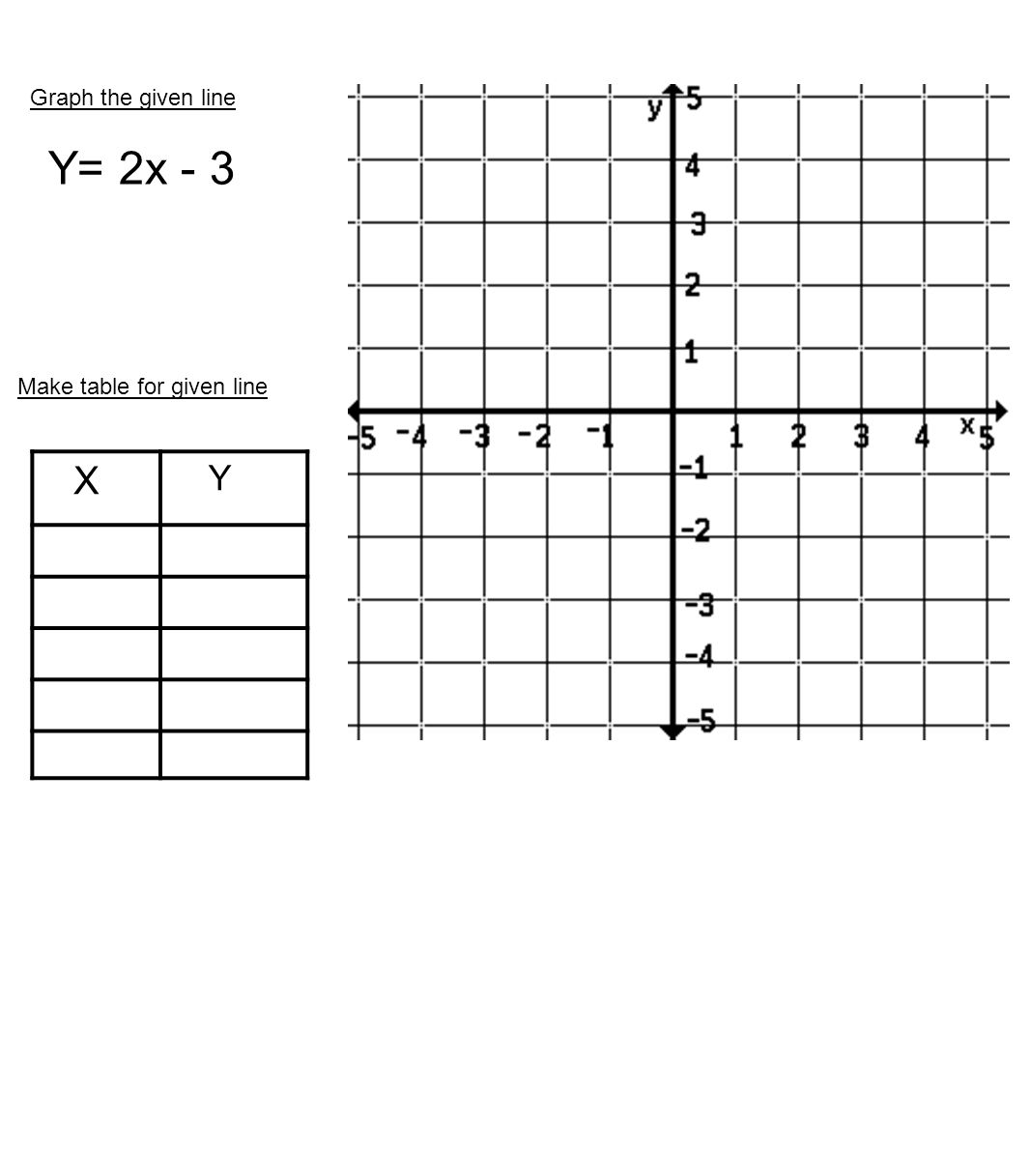 Graph the given line Y= 2x - 3 Make table for given line X Y