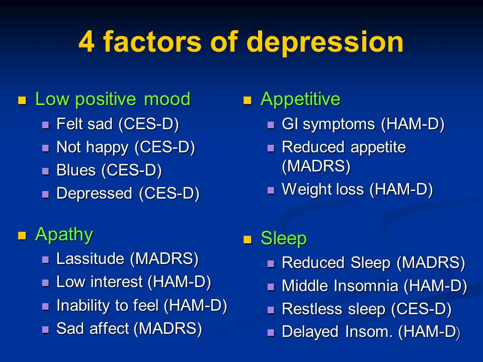 4 factors of depression Low positive mood Apathy Appetitive Sleep