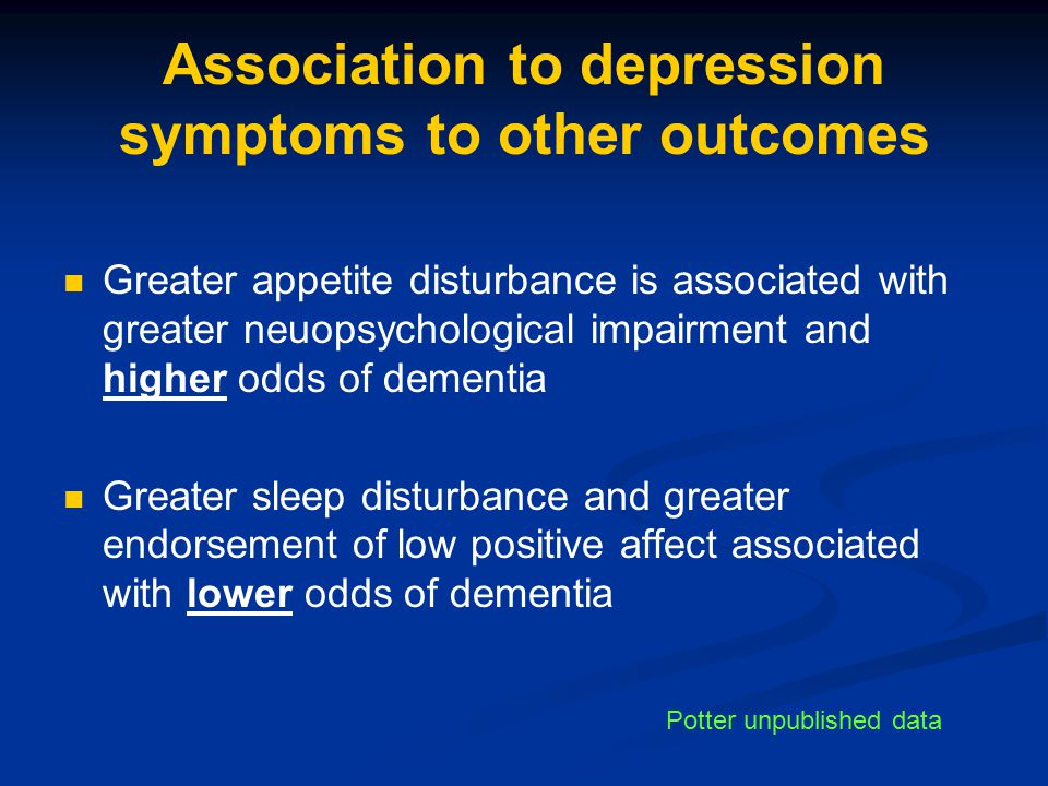 Association to depression symptoms to other outcomes
