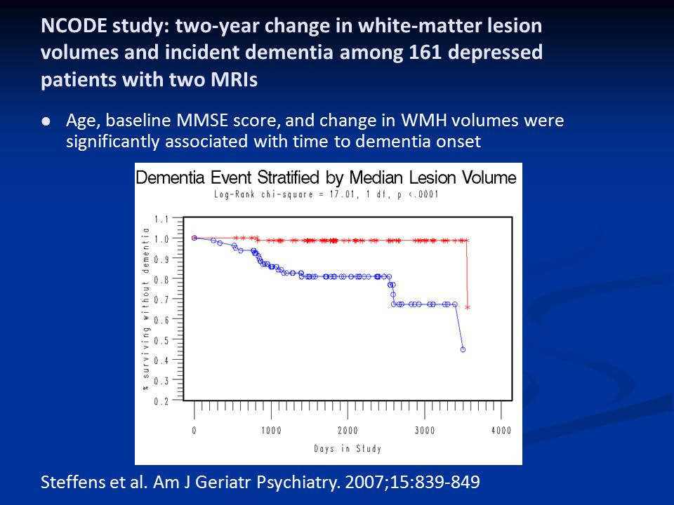 NCODE study: two-year change in white-matter lesion volumes and incident dementia among 161 depressed patients with two MRIs