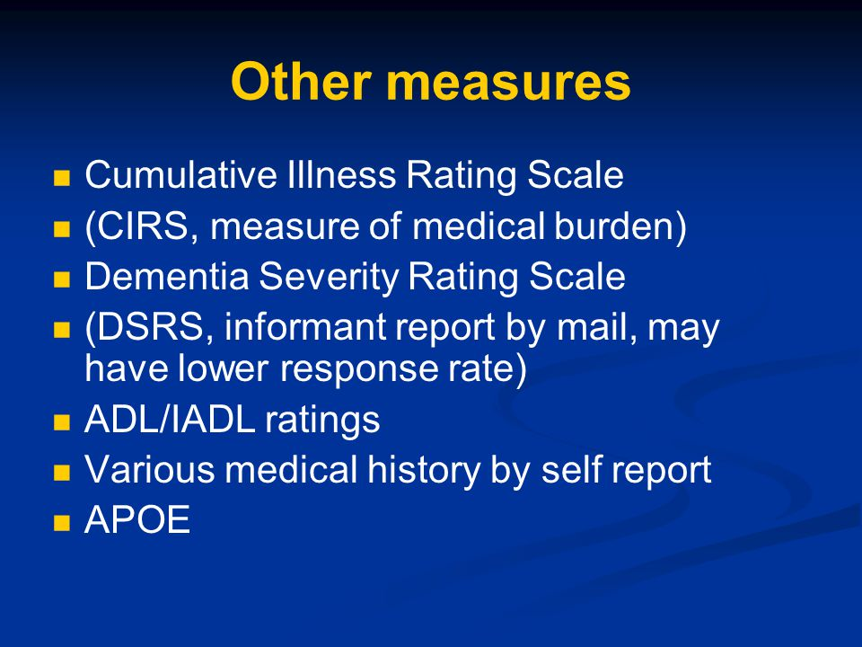 Other measures Cumulative Illness Rating Scale