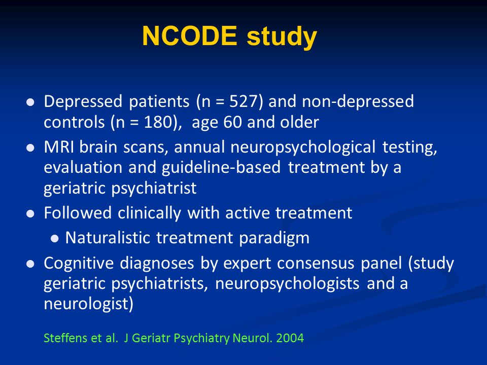 NCODE study Depressed patients (n = 527) and non-depressed controls (n = 180), age 60 and older.