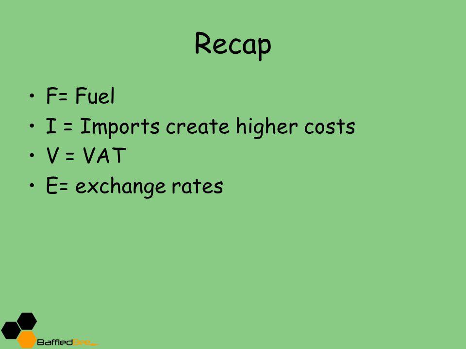 Recap F= Fuel I = Imports create higher costs V = VAT