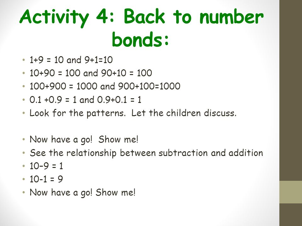 Activity 4: Back to number bonds: