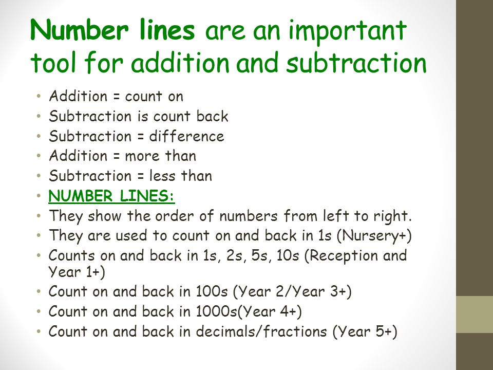 Number lines are an important tool for addition and subtraction