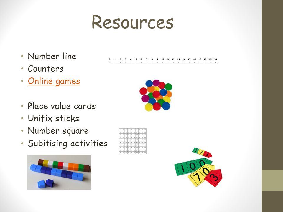 Resources Number line Counters Online games Place value cards