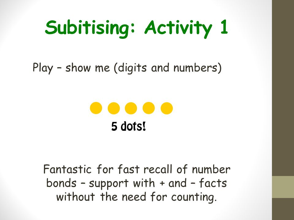 Subitising: Activity 1 Play – show me (digits and numbers)