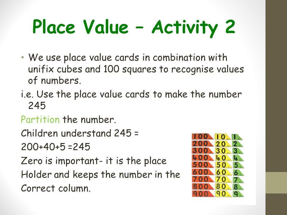 Place Value – Activity 2 We use place value cards in combination with unifix cubes and 100 squares to recognise values of numbers.