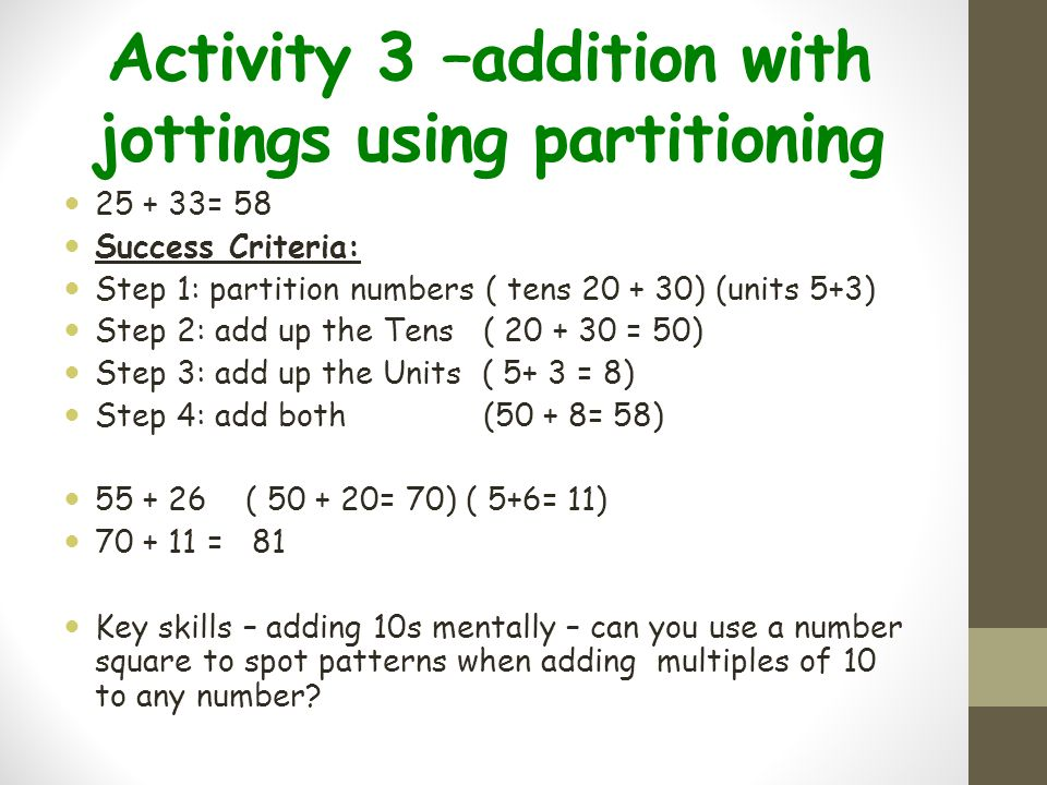 Activity 3 –addition with jottings using partitioning