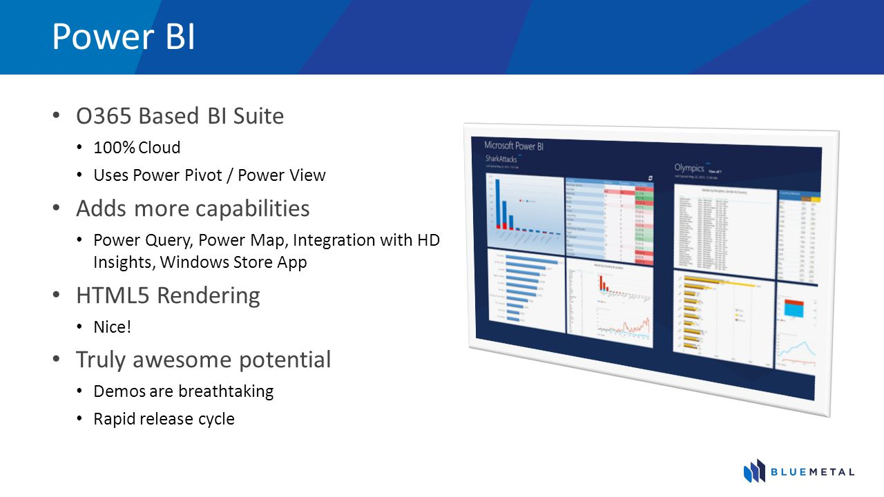 Power BI O365 Based BI Suite Adds more capabilities HTML5 Rendering