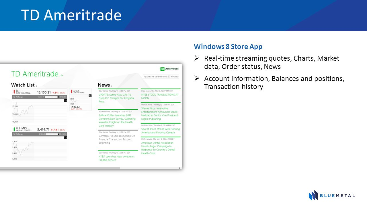 TD Ameritrade Windows 8 Store App
