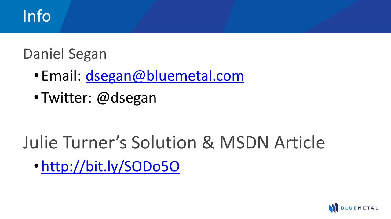 Julie Turner's Solution & MSDN Article