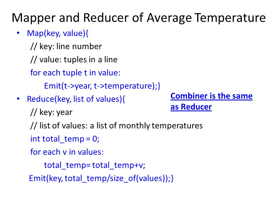 Mapper and Reducer of Average Temperature