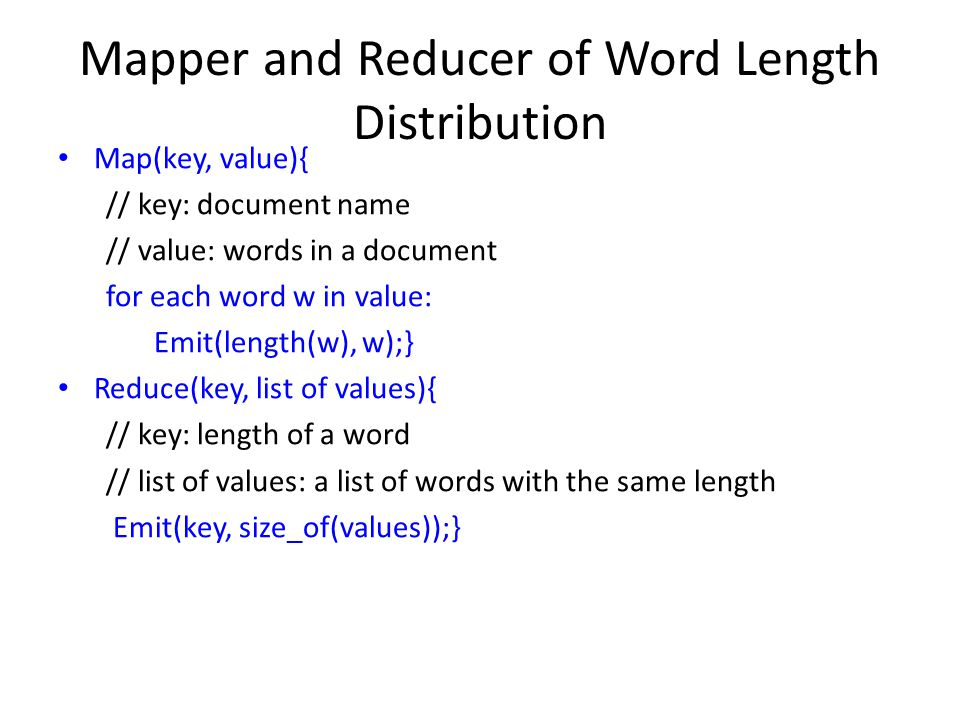 Mapper and Reducer of Word Length Distribution
