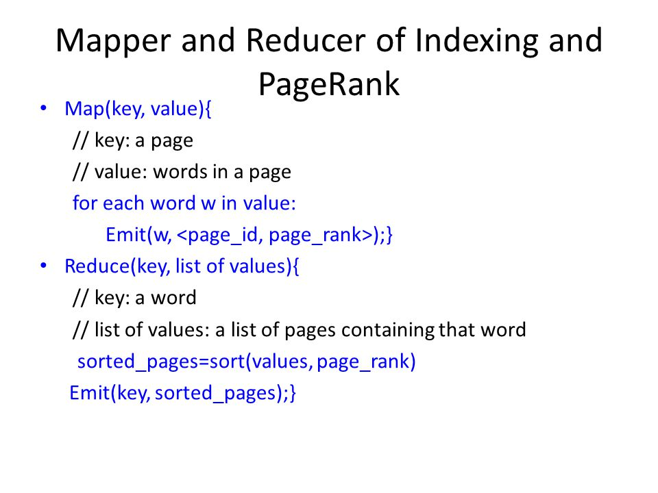 Mapper and Reducer of Indexing and PageRank
