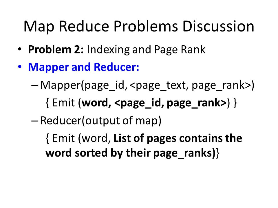 Map Reduce Problems Discussion