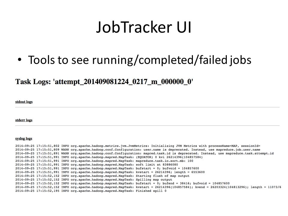 JobTracker UI Tools to see running/completed/failed jobs