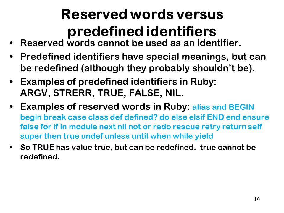 Reserved words versus predefined identifiers