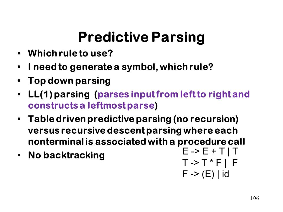 Predictive Parsing Which rule to use