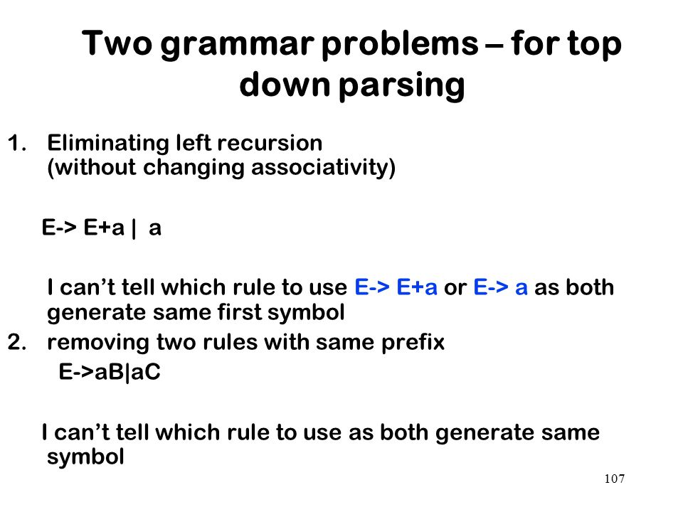 Two grammar problems – for top down parsing