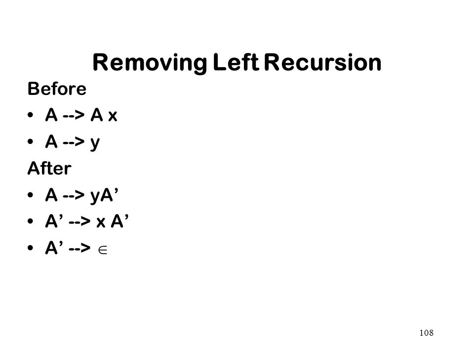 Removing Left Recursion