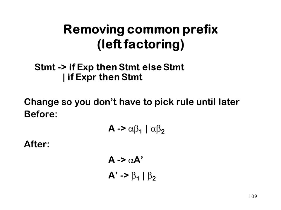 Removing common prefix (left factoring)
