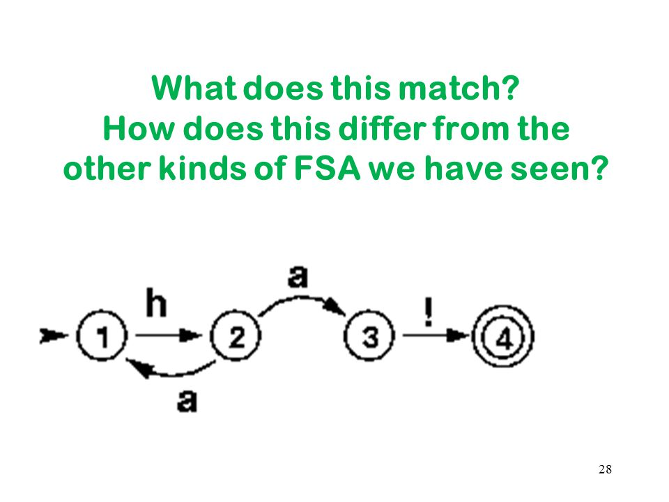 What does this match How does this differ from the other kinds of FSA we have seen