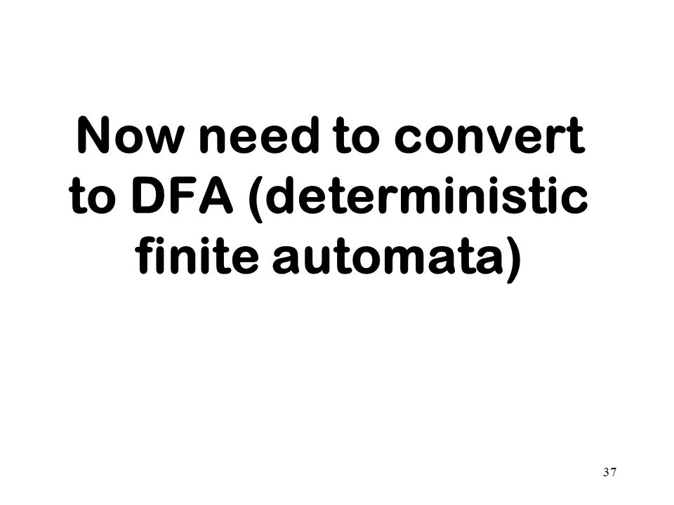 Now need to convert to DFA (deterministic finite automata)