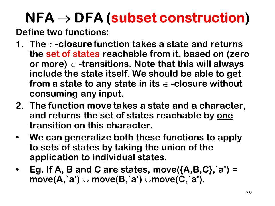 NFA  DFA (subset construction)