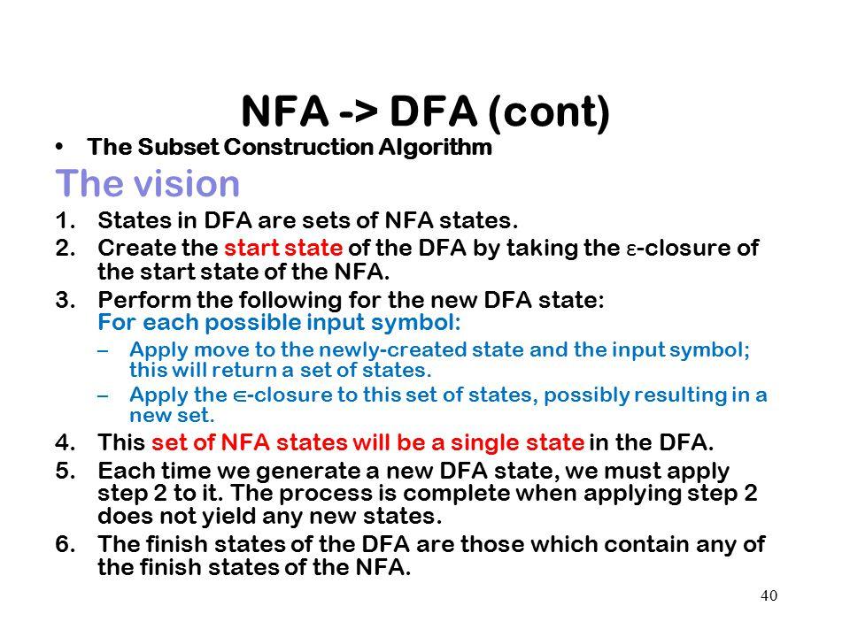 NFA -> DFA (cont) The vision The Subset Construction Algorithm