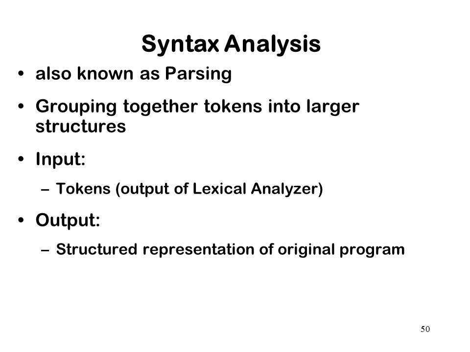 Syntax Analysis also known as Parsing