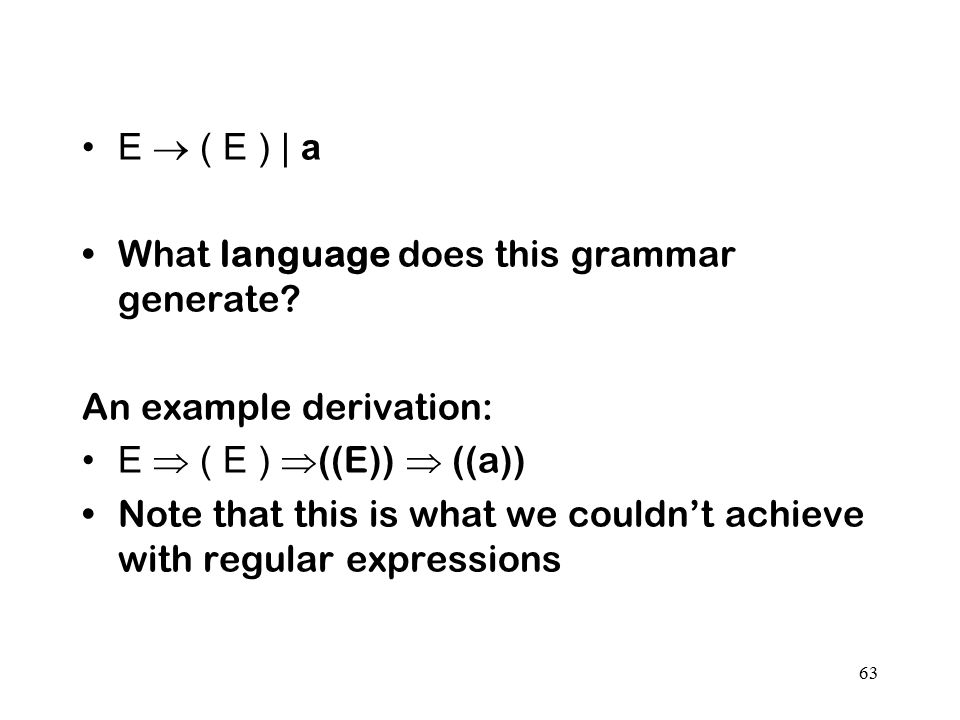 E  ( E ) | a What language does this grammar generate An example derivation: E  ( E ) ((E))  ((a))