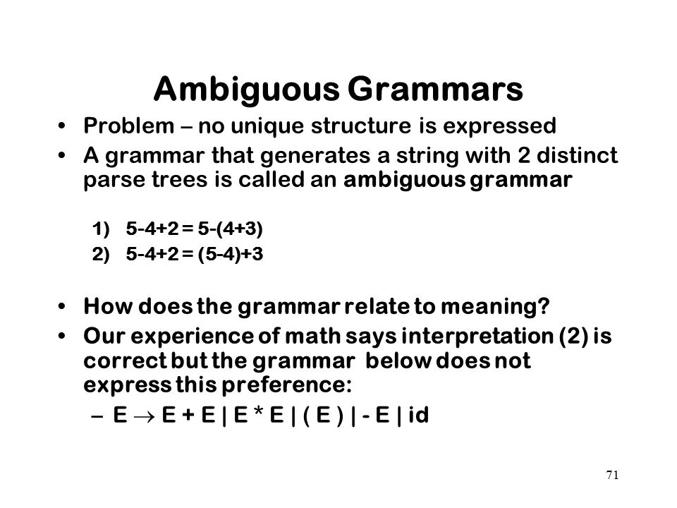 Ambiguous Grammars Problem – no unique structure is expressed
