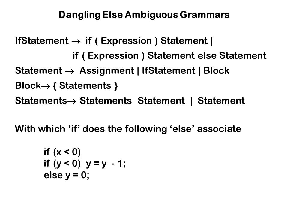 Dangling Else Ambiguous Grammars
