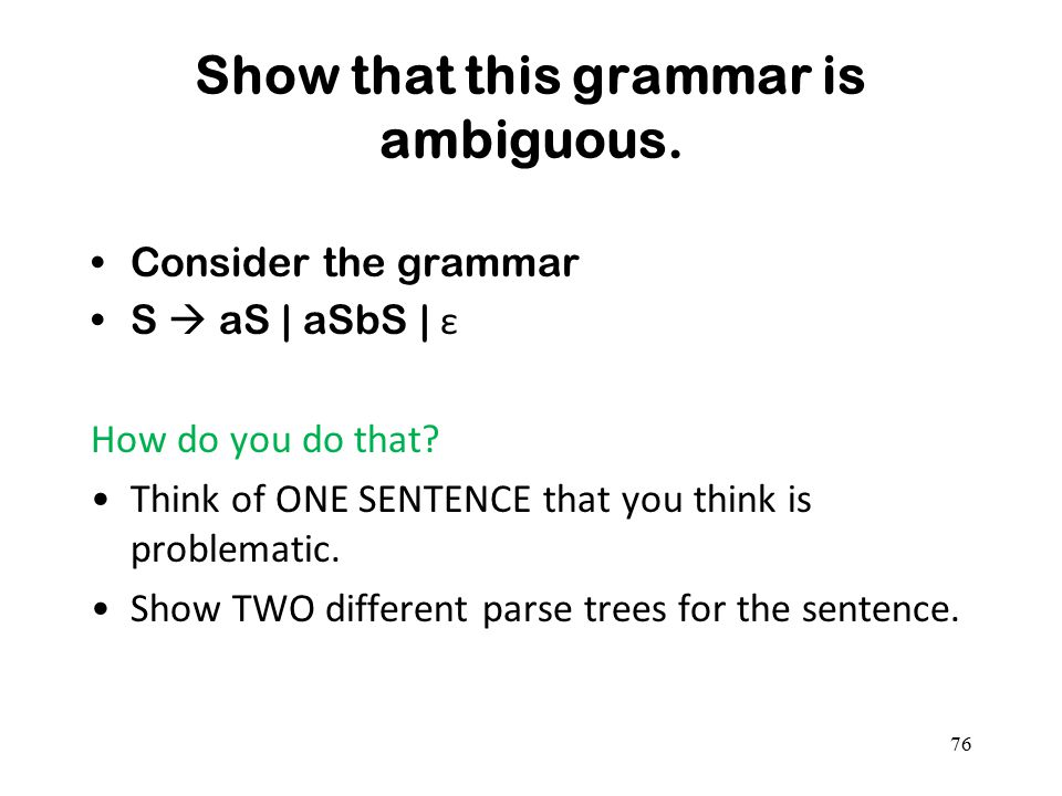 Show that this grammar is ambiguous.