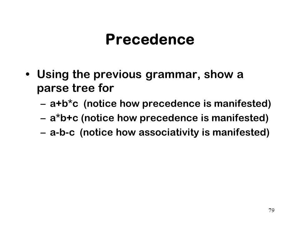 Precedence Using the previous grammar, show a parse tree for