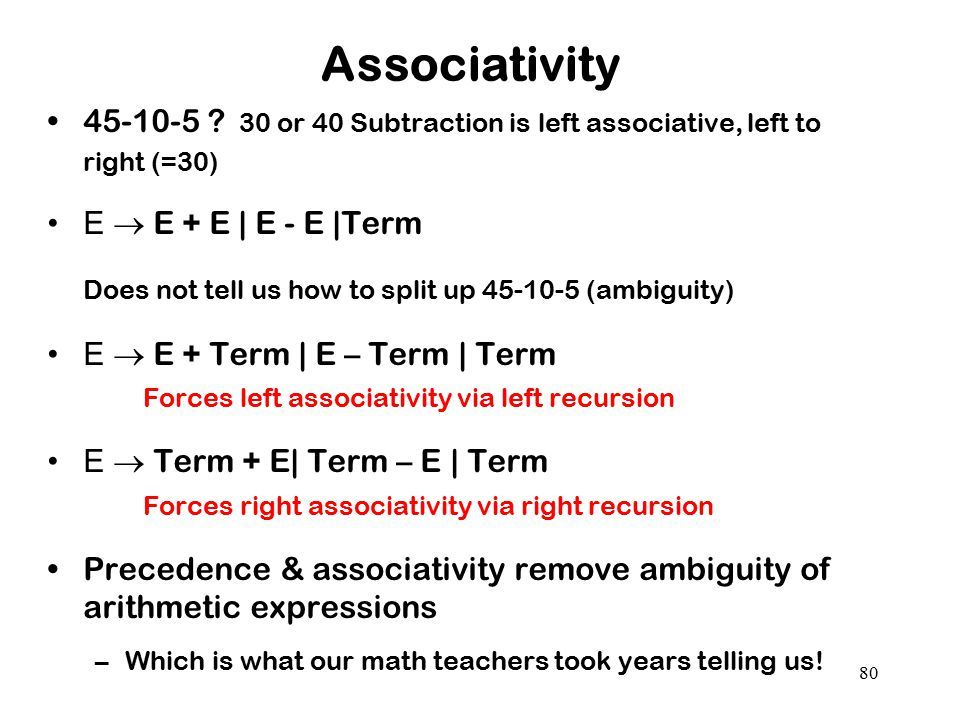 Associativity 45-10-5 30 or 40 Subtraction is left associative, left to right (=30) E  E + E | E - E |Term.