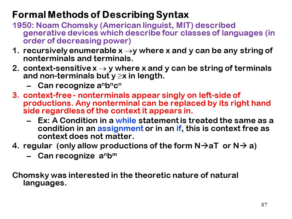 Formal Methods of Describing Syntax