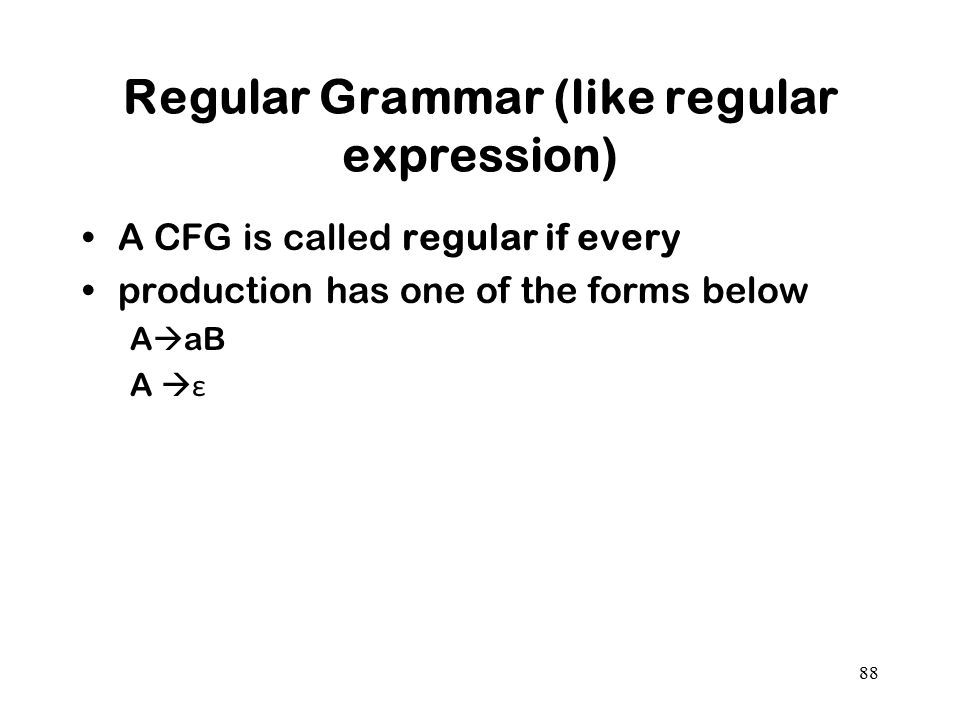 Regular Grammar (like regular expression)