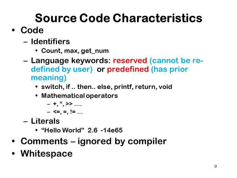 Source Code Characteristics
