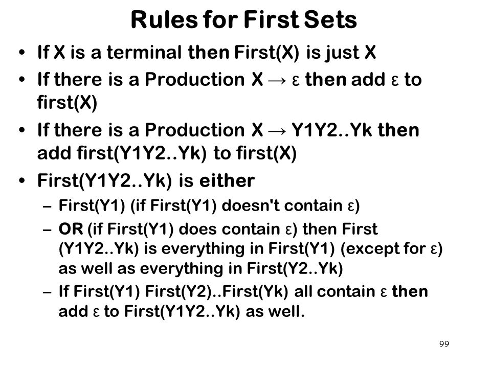 Rules for First Sets If X is a terminal then First(X) is just X