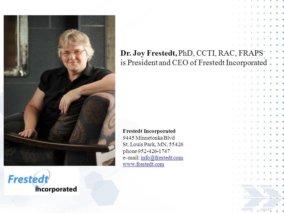 Dr. Joy Frestedt, PhD, CCTI, RAC, FRAPS