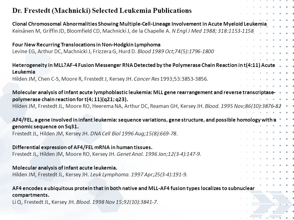 Dr. Frestedt (Machnicki) Selected Leukemia Publications