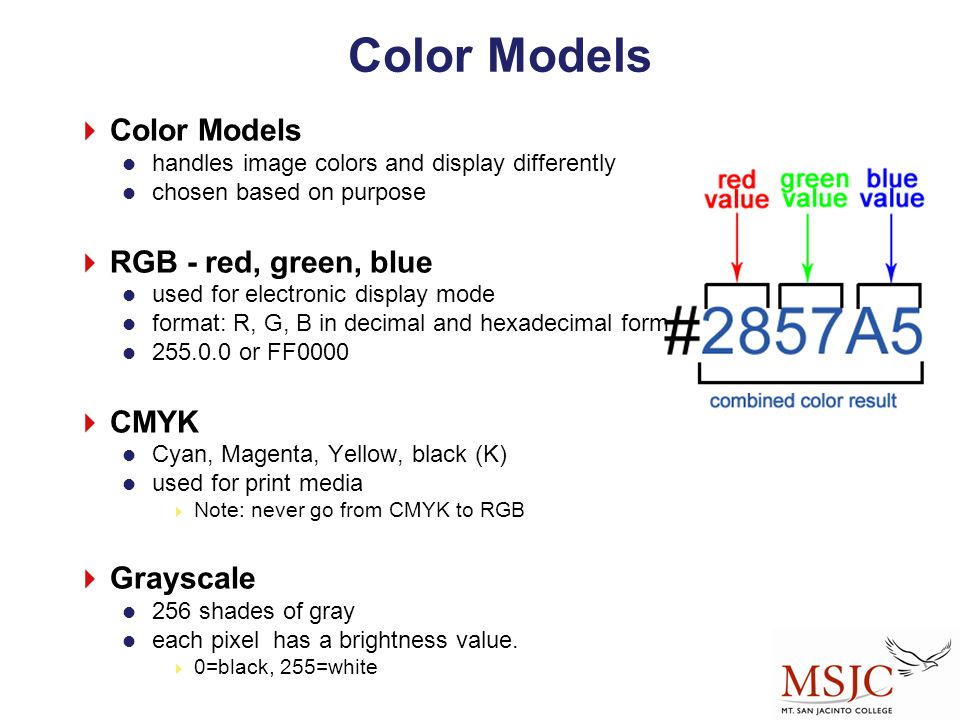Color Models Color Models RGB - red, green, blue CMYK Grayscale