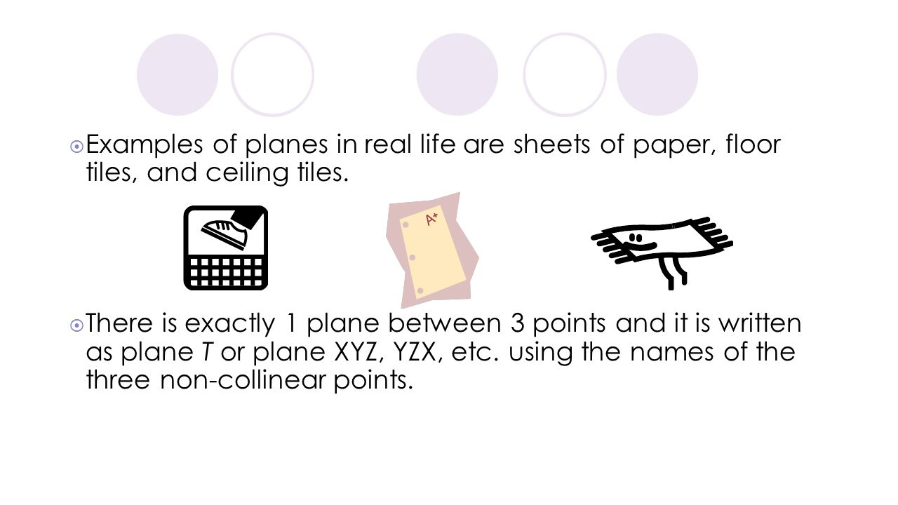 Examples of planes in real life are sheets of paper, floor tiles, and ceiling tiles.