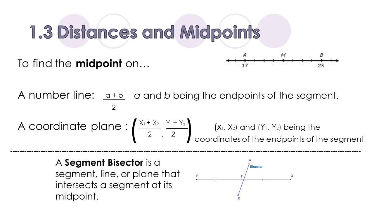 1.3 Distances and Midpoints